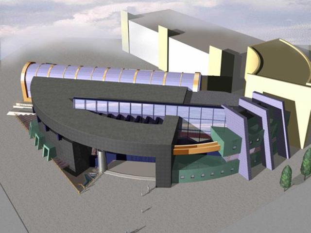 Первоначальный проект торгово-развлекательного комплекса с аквапарком, ресторанами и пятиуровневой парковкой
